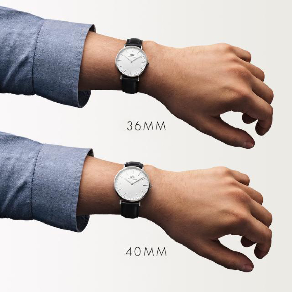 3328e5e4a31e Silver watch with black leather strap Spring and Summer Collection Daniel  Wellington