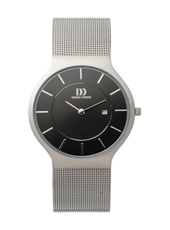 IQ63Q732   36mm Steel & Black Watch with Date on a Mesh Strap
