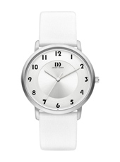 IV10Q1104  35mm Steel ladies watch, white leather strap