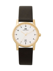 IV11Q170   28mm Classic Gold ladies watch on Black Leather Strap