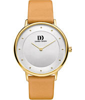 IV15Q1129  38mm Gold ladies watch with beige leather strap