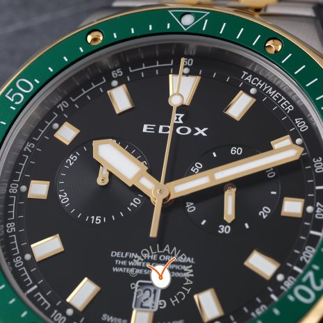 Two-Tone Swiss Made Chronograph Diver  Edox