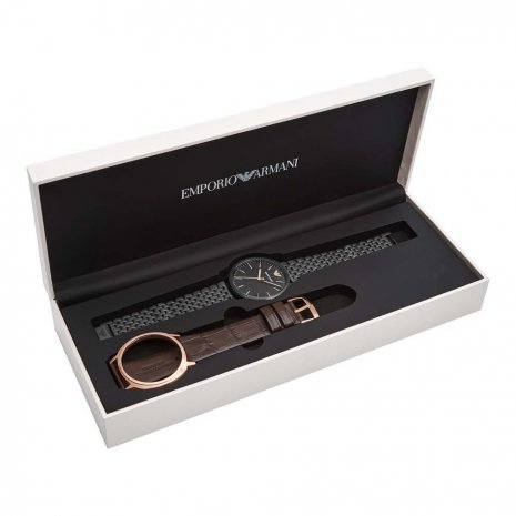 Gift Set Watch Interchangeable Case Black or Rose gold Autumn and Winter Collection Emporio Armani