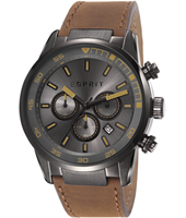 ES108021003 Alaric  45mm Black Military Chrono with Date on Brown Strap