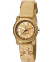 ES000FA4045 Biker  26mm Sand Colored  Kids Watch With Bicycle Print