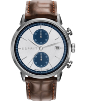 ES109181001 New Classics 45mm Silver & Blue chronograph on brown leather strap