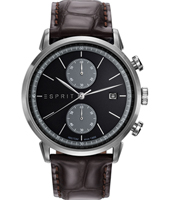 ES109181003 New Classics 45mm Silver & Black chronograph on brown leather strap