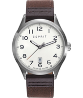ES109191001 New Classics 43mm Silver & brown quartz watch with date