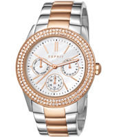 ES103822016 Peony  38mm Bicolor Rose, Crystals & Mother of Pearl Multifunction Watch
