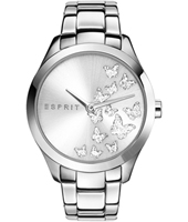 ES107282007 Silver Butterfly 38mm Silver Ladies Watch with Crystal Decorated Dial
