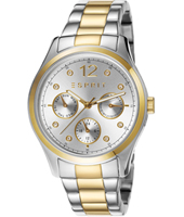 ES106702004 Tracy 36mm Day/Date Bicolor Gold Watch, Crystal Indexes