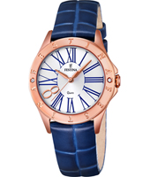 F16930/1 Mademoiselle 34mm Rose Gold & Blue Ladies Quartz Watch