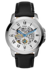 ME3053 Grant 44mm Silver automatic mens watch with black leather strap