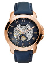 ME3054 Grant 44mm Rose gold automatic mens watch with blue leather strap