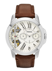 ME1144 Grant Twist 44mm Silver mens watch with brown leather strap