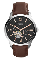 ME3061 Townsman 44mm Black automatic gents watch with brown leather strap