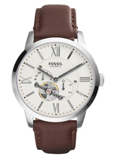 ME3064 Townsman 44mm White automatic gents watch with brown leather strap