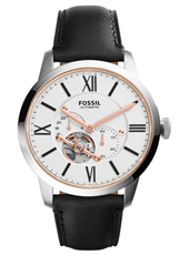 ME3104 Townsman 44mm Steel automatic men's watch with black leather strap