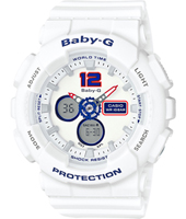 BA-120TR-7BER Classic Tri Color 43.40mm White ladies G-shock watch