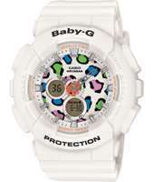 BA-120LP-7A1ER Leopard Print 43.40mm White Ladies G-Shock Watch with printed dial