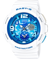 BGA-190GL-7BER Standard analog-digital 44.30mm White & blue ladies watch with world timer