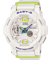 BGA-180-7B2ER Surf Girl 44mm White & Green Ladies Watch with Tide Graph