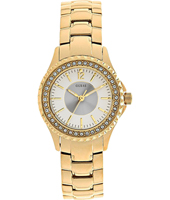 W0507L2 Party 28mm Gift set: gold ladies watch inclusive extra strap with leopard print