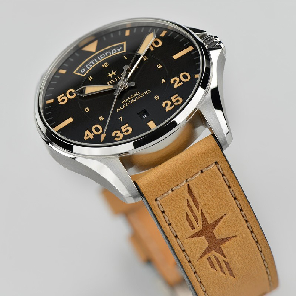 cb91c022976 Black  amp  Brown Gents Swiss Watch with Day-Date Spring and Summer  Collection Hamilton