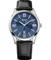 1513386 Ambassador Steel & blue gents watch with date