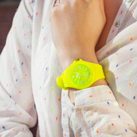 Yellow silicone watch with sunray dial - Size Medium Spring and Summer Collection Ice-Watch