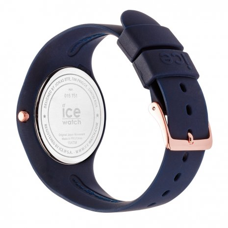 Blue & Rose Gold Silicone Watch Size Medium Spring and Summer Collection Ice-Watch