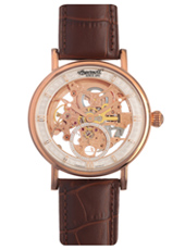 IN1918RSL Nez Percé 40mm Rose gold automatic skeleton watch with brown leather strap