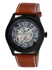 KC8076  Mechanical skeleton watch with matte black case & brown strap