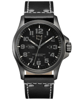 A.1921.BO Atacama Field  45mm All Black Day/Date Watch on Black Leather Strap