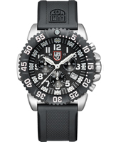 A.3181 Navy Seal Colormark 44mm Black & White Steel Dive Chrono, Rubber Strap