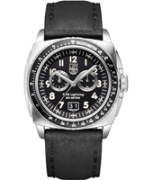 A.9441 P-38 Lighting 44mm Steel & Black Chronograph Leather Mens Watch
