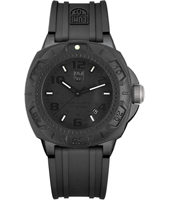 A.0201BO Sentry 44mm All Black Carbon Watch with Large Numbers on Rubber Strap