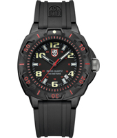 A.0215.SL Sentry 44mm Black & Red Carbon Watch with Large Numbers on Rubber Strap