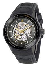 R8821110001 Corsa  46mm Automatic Black Skeleton Watch with Gold Details