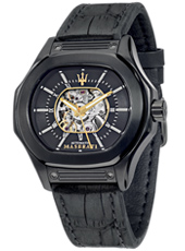 R8821116008 Fuoriclasse 42mm Black gent's watch with half skeleton dial and black leather strap