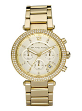 MK5354 Parker 39mm Gold ladies chrono with crystals
