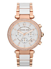 MK5774 Parker 39mm Rose Gold & White Lady Chrono Watch