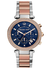 MK6141 Parker Bicolor ladies chronograph with blue dial and steel bracelet