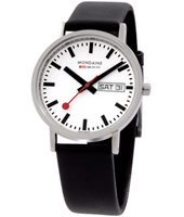 A667.30314.11SBB Classic Gents 36mm white watch with day-date and extra steel milanese strap
