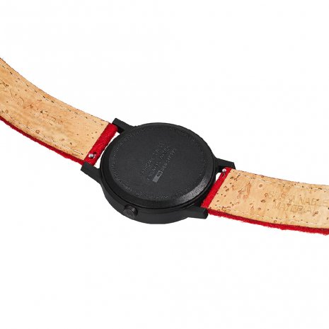 Eco-friendly watch with red cork-textile strap and extra grey strap Autumn and Winter Collection Mondaine