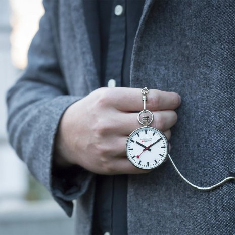 Swiss Pocket Watch with Leather Pouch Spring and Summer Collection Mondaine