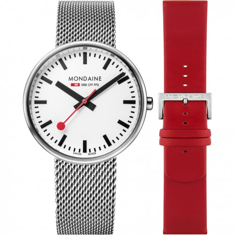 Swiss railway watch with extra Red Leather Strap Autumn and Winter Collection Mondaine