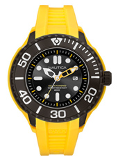 A28508G NMX 1000  48mm Black Solar Powered Watch with Date, Yellow Silicone Strap