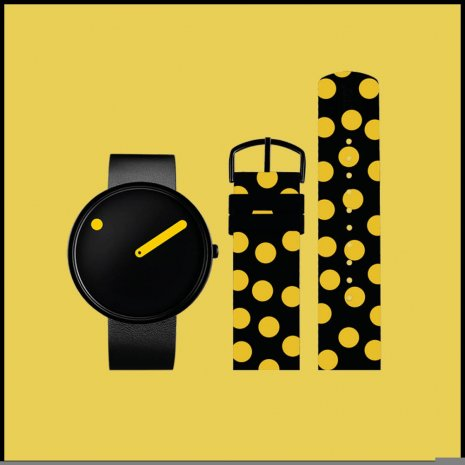 Gift set: black picto watch with extra polka-dot strap Autumn and Winter Collection Picto