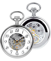 90002-01  Silver 43mm Mechanical Open Face & Back Pocket Watch